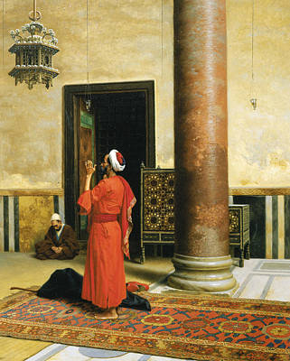 Interior Scene Painting - Morning Prayers by Ludwig Deutsch