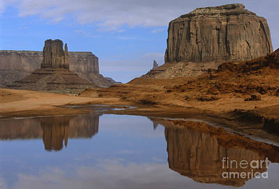 Morning Reflections In Monument Valley Print by Sandra Bronstein