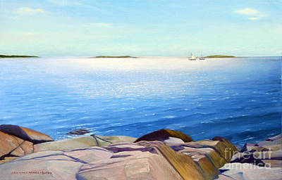 Boardroom Painting - Morning Shimmers Port Clyde Maine by Rosemarie Morelli
