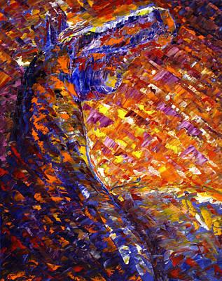 Abstract Horse Painting - Morning Sunrise by Jennifer Godshalk