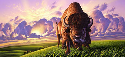 Buffalo Painting - Morning Thunder by Jerry LoFaro