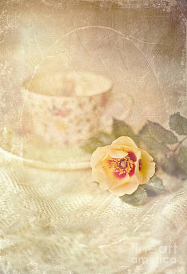 Morning Time Wild Rose And Teacup Print by Susan Gary