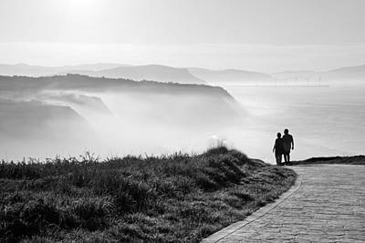 Beach Photograph - Morning Walk With Sea Mist by Mikel Martinez de Osaba