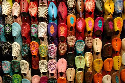 Moroccan Babouches Old Medina Marrakesh Morocco Print by Ralph A  Ledergerber-Photography