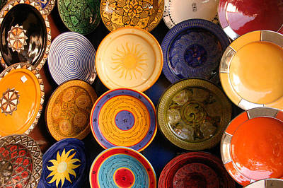 Moroccan Pottery On Display For Sale Print by Ralph A  Ledergerber-Photography
