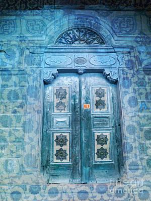 Morroco Blue Door Iznic Tiles Print by Cimorene Photography