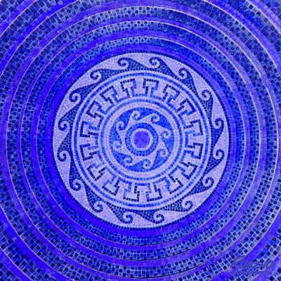 Mosaic Circle Blue Original by Tony Rubino