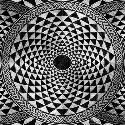 Mosaic Circle Symmetric Black And White Original by Tony Rubino