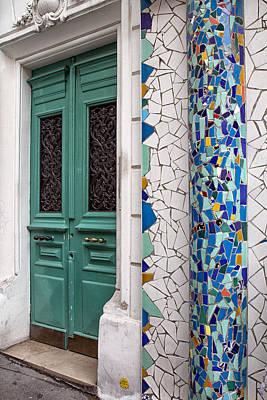 Mosaic Door In Montmartre Print by Georgia Fowler