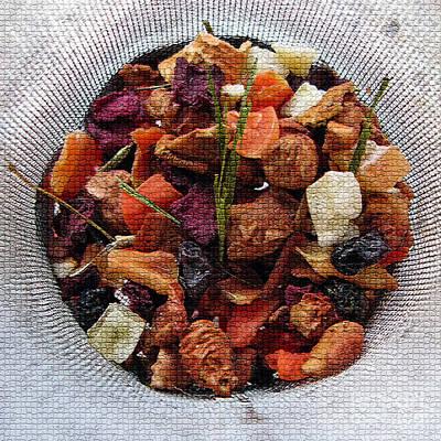 Mosaic Fruity Tea With Bamboo Leaves Square  Print by Ausra Huntington nee Paulauskaite