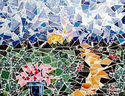 Patchwork Quilts Mixed Media - Mosaic Garden Path by Dani Abbott