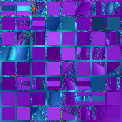 Mosaic In Purple And Teal Print by Judi Suni Hall