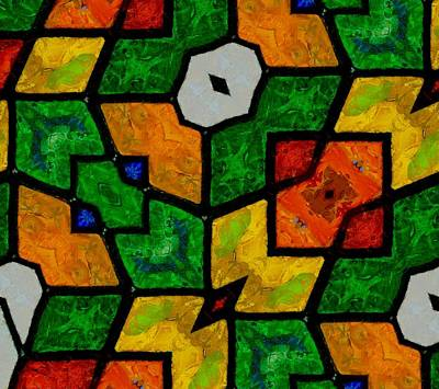 Red Cube Painting - Mosaic Pattern by Dan Sproul