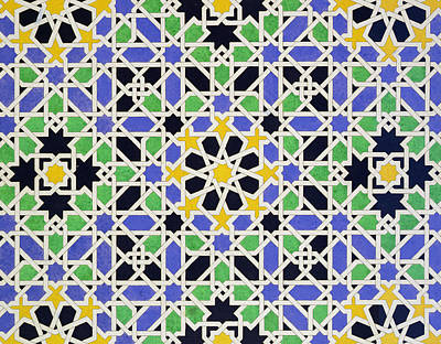 African Motifs Painting - Mosaic Pavement In The Alhambra by James Cavanagh Murphy