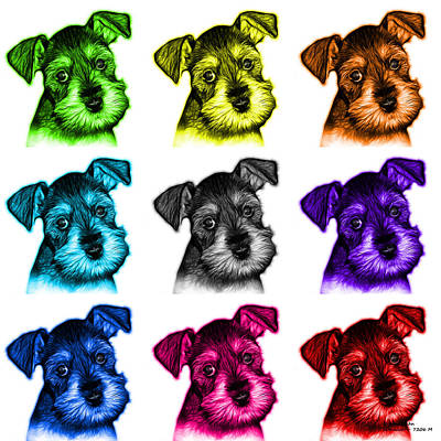 Schnauzer Art Digital Art - Mosaic Salt And Pepper Schnauzer Puppy 7206 F - Wb by James Ahn