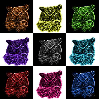 Owl Digital Art - Mosaic V1 Owl 4436 - F M by James Ahn