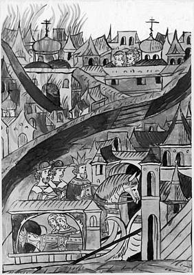 Moscow Drawing - Moscow Fire, 1547 by Granger