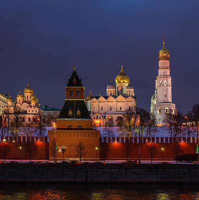Moscow Kremlin Cathedrals At Night - Square Print by Alexander Senin