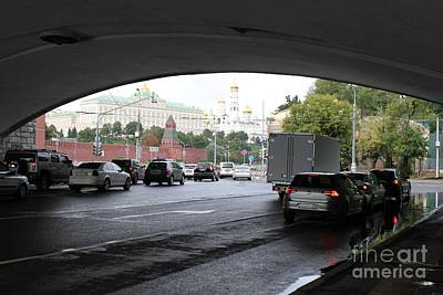 Moscow Skyline Photograph - Moscow Kremlin Seen Through The Archway Of Greater Stone Bridge In Moscow I by Anna Yurasovsky