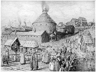 Moscow Drawing - Moscow Street Scene, 1550s by Granger