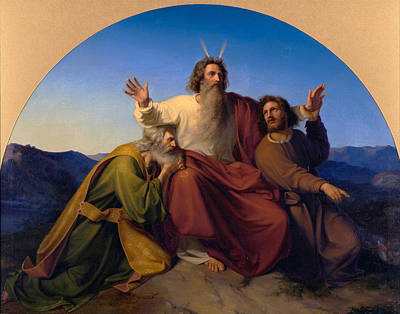 Aaron Painting - Moses Aaron And Hur by Alexander Heubel