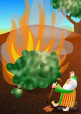 Burning Bush Digital Art - Moses And The Burning Bush by Prawny Clipart Cartoons