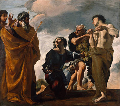 Giovanni Lanfranco Painting - Moses And The Messengers From Canaan by Giovanni Lanfranco