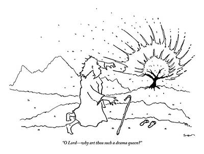 Moses Drawing - Moses Comments While A Tree Burns In The Distance by Michael Shaw