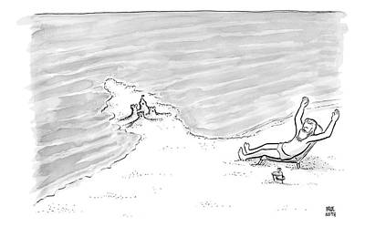 Moses Drawing - Moses Is Laying On A Beach Chair Parting The Sea by Paul Noth