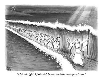 The Followers Drawing - Moses Parting The Sea by Paul Noth