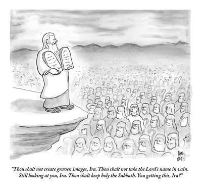 Moses Drawing - Moses Recites The Ten Commandments To An Audience by Paul Noth
