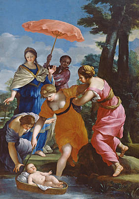 Moses Rescued From The Water Print by Giovanni Francesco Romanelli