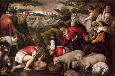 Moses Striking Water From The Rock Oil On Panel Print by Jacopo Bassano