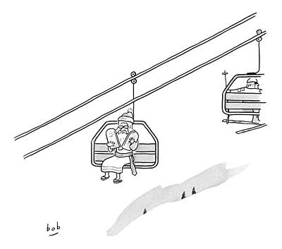 Moses Drawing - Moses Travels Down A Mountain On A Ski-lift by Bob Eckstein