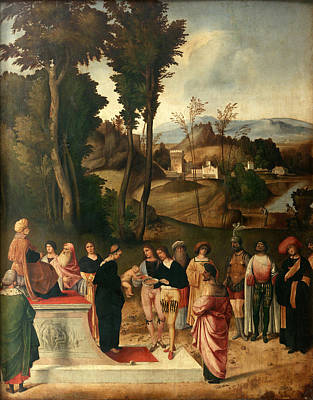 Giorgione Painting - Moses Undergoing Trial By Fire by Giorgione