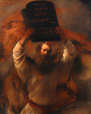 Burning Bush Painting - Moses With The Ten Commandments  by Mountain Dreams