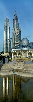 Twin Towers Photograph - Mosque And Petronas Towers Kuala Lumpur by Panoramic Images