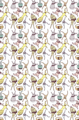 Cute Digital Art - Mostriciattoli Pattern by Freshinkstain