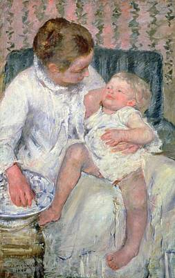 Mother About To Wash Her Sleepy Child Print by Mary Stevenson Cassatt