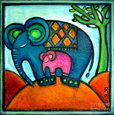 Baobab Painting - Mother And Baby Elephant One Footstep For Two by Rosemary Lim