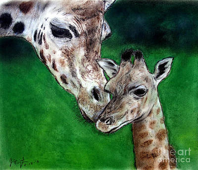 Mother And Baby Giraffe Print by Jim Fitzpatrick