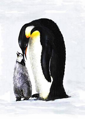 Penguin Digital Art - Mother And Baby Penguin by Jane Schnetlage