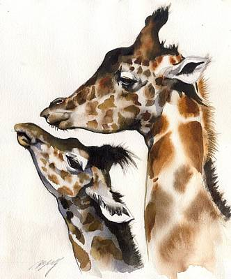 Mother And Baby Giraffe Painting - Mother And Child by Alfred Ng