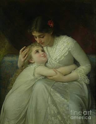 Mother And Child Print by Emile Munier