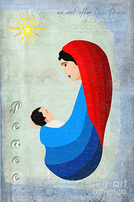 Nativity Digital Art - Virgin Mary And Child by Gillian Singleton