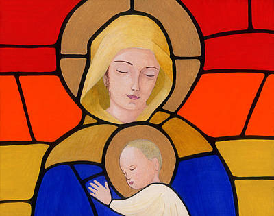 Egg Tempera Painting - Mother And Child by Jacqueline Savidge
