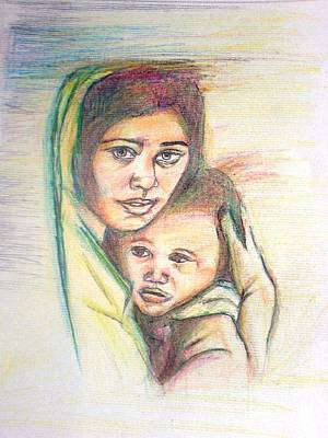 Drawing - Mother And Child by Wedam Abassey
