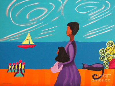 African American. Folk Art Painting - Mother And Daughter by Anita Lewis