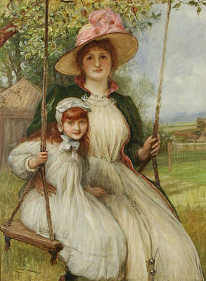 Mother And Daughter On A Swing Print by Robert Walker Macbeth
