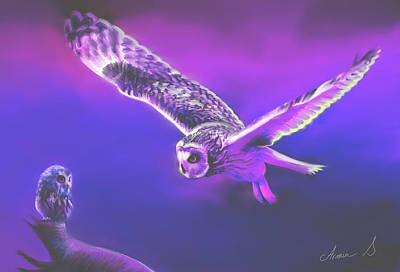 E 20 Painting - Mother And Daughter Owl Spirit. by Armin Sabanovic